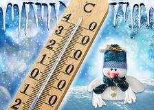seasonal-cold-winter-weather-conceptual-image-cute-little-snowman-cap-scarf-fresh-snow-falling-35947702